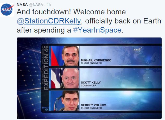 NASA Astronaut Scott Kelly Earth