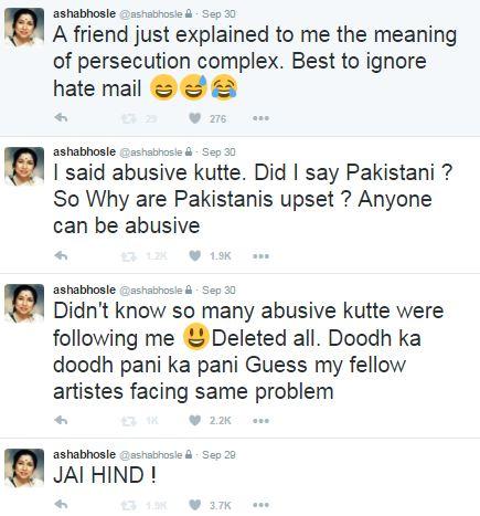 आशा भोसले, पाकिस्तान, जय हिंद, कुत्ते, Asha Bhosle, Pakistani trolls, abusive dogs, Twitter